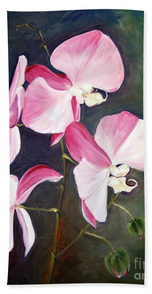 Bath Sheet featuring the painting Orchid Study IIi by Frank Hoeffler