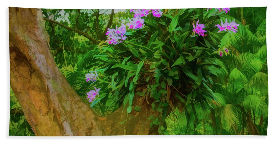 Orchid Bath Sheet featuring the photograph Orchid Tree by Gary Eyring