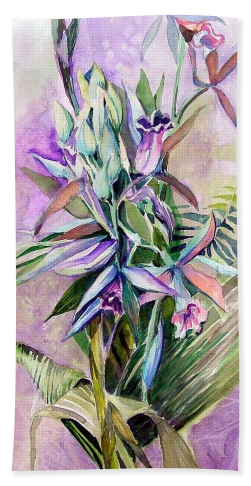 Orchids Hand Towel featuring the painting Orchids- Botanicals by Mindy Newman