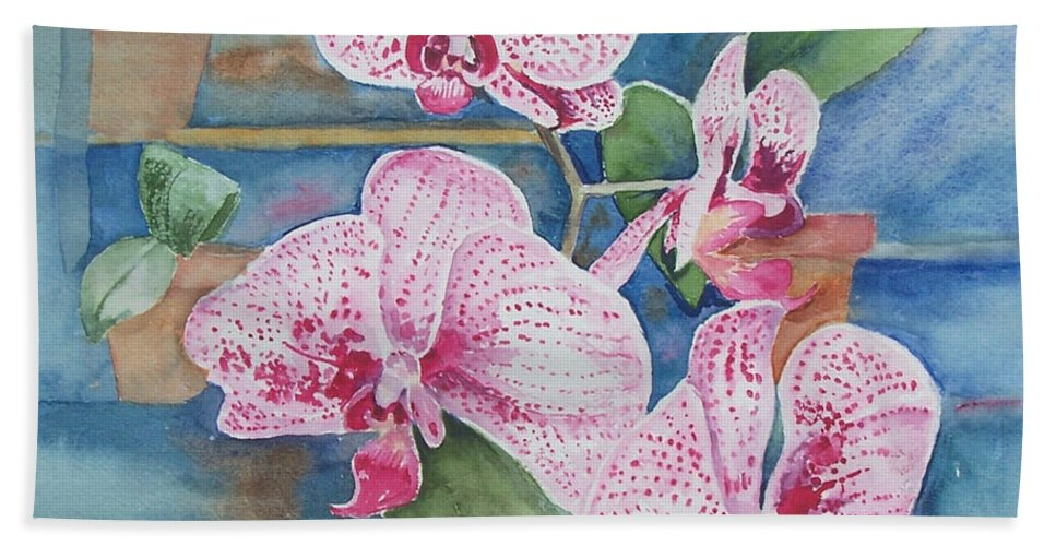 Flower Hand Towel featuring the painting Orchids by Christine Lathrop