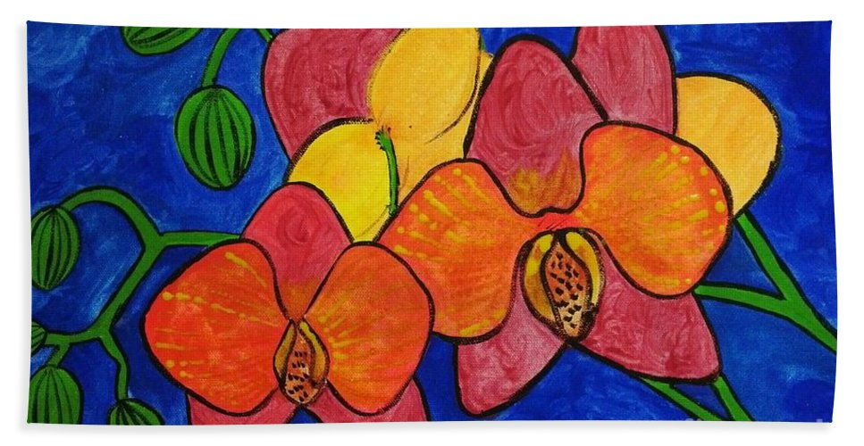Flowers Hand Towel featuring the painting Orchids by Gurkirat Gill