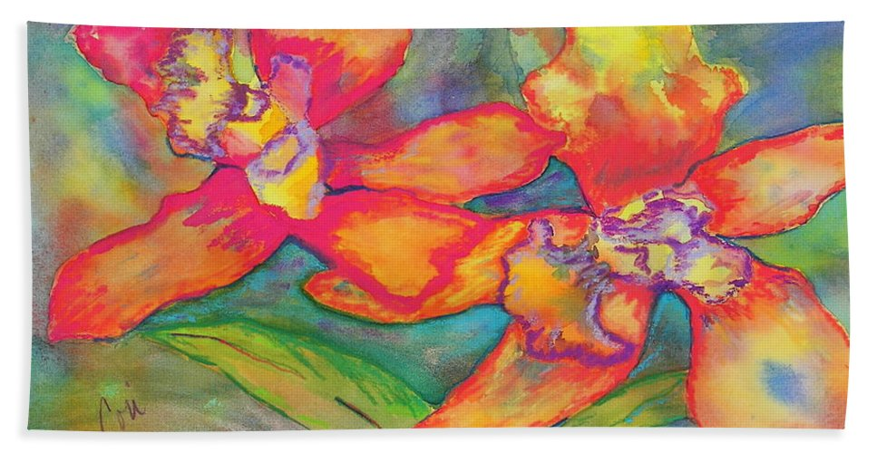 Flowers Hand Towel featuring the painting Orchids In Paradise by Cori Solomon
