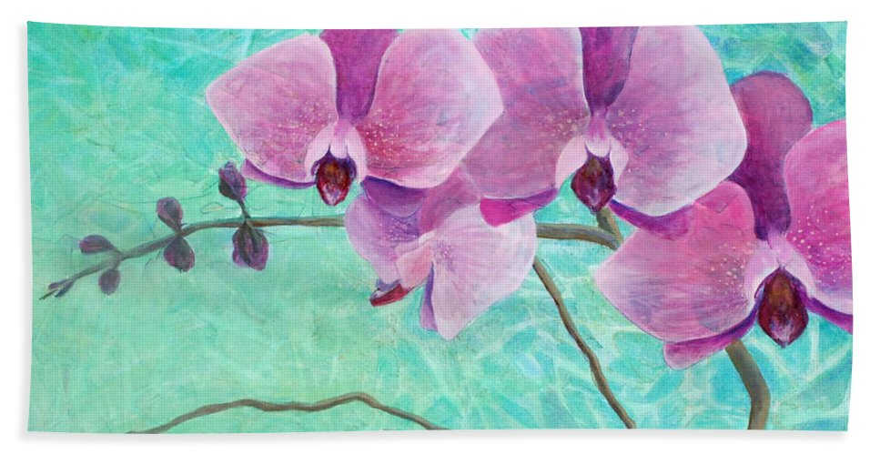 Flower Bath Sheet featuring the painting Orchids In Pink by Arlissa Vaughn