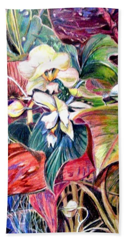 Valentines Hand Towel featuring the drawing Orchids In White by Mindy Newman