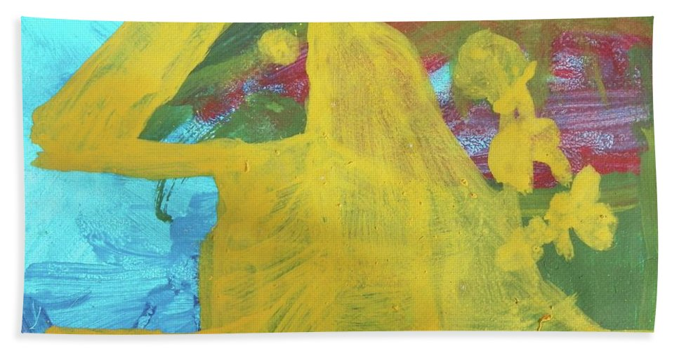 Abstract Bath Sheet featuring the painting Orchids by Judith Redman