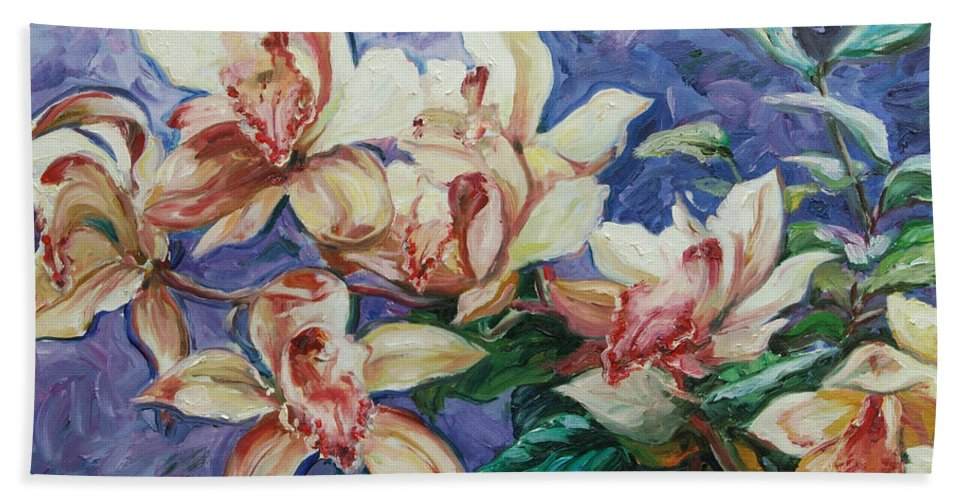 Flowers Bath Towel featuring the painting Orchids by Rick Nederlof