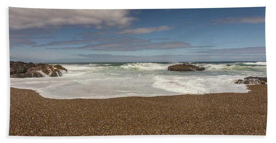 Waves Bath Sheet featuring the photograph Oregon Coast- 5 by Calazone's Flics