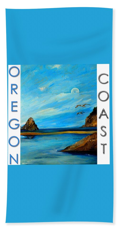 Ocean Hand Towel featuring the painting Oregon Coast Graphics by Jean Habeck