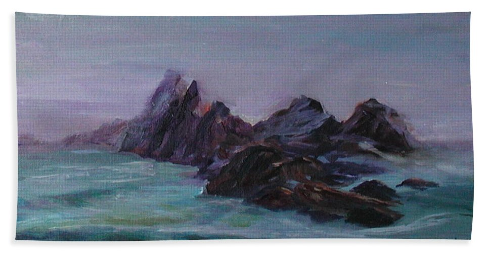 Impressionism Hand Towel featuring the painting Oregon Coast Seal Rock Mist by Quin Sweetman