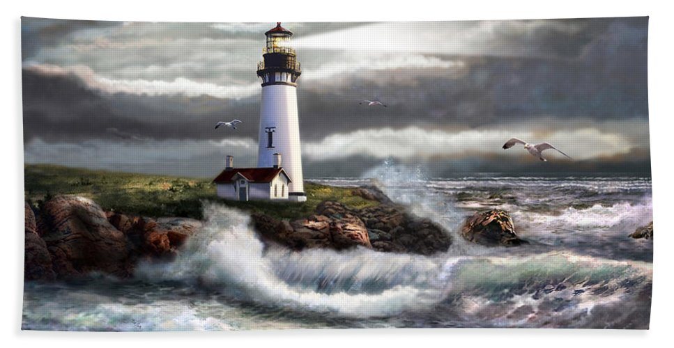 Seascape Art Hand Towel featuring the painting Oregon Lighthouse Beam Of Hope by Regina Femrite