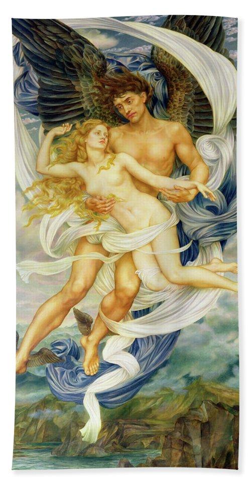 Boreas Abducting Oreithyia Bath Towel featuring the painting Oreithyia And Boreas by Evelyn De Morgan