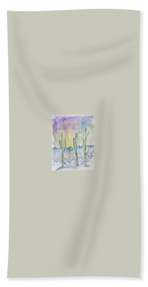 Impressionistic Bath Towel featuring the painting Organ Pipe Cactus desert southwestern painting poster print by Derek Mccrea