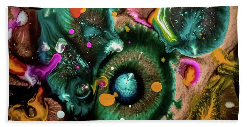 Organic Abstract Hand Towel featuring the mixed media Organic Abstract 3 by Lilia D