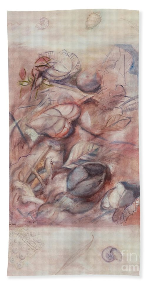 Shells Bath Sheet featuring the painting Organic Co-existence by Kerryn Madsen-Pietsch