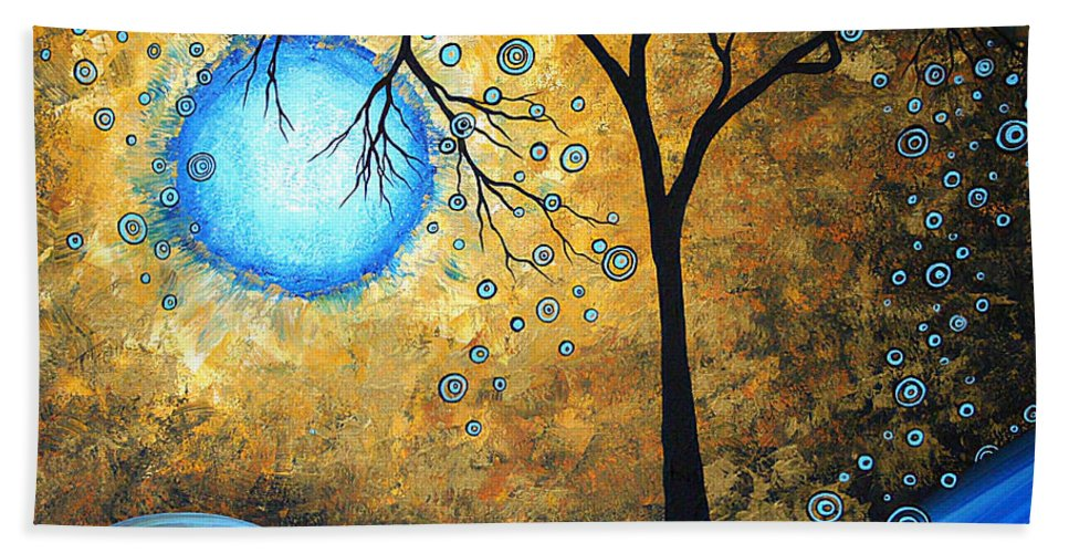 Abstract Bath Sheet featuring the painting Orginal Abstract Landscape Painting Blue Fire By Madart by Megan Duncanson