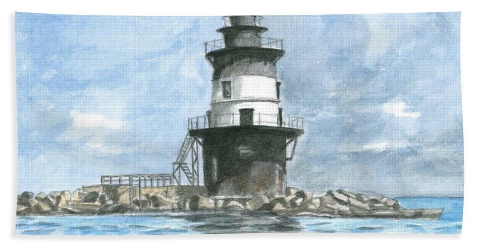 Lighthouse Hand Towel featuring the painting Orient Point Lighthouse by Dominic White