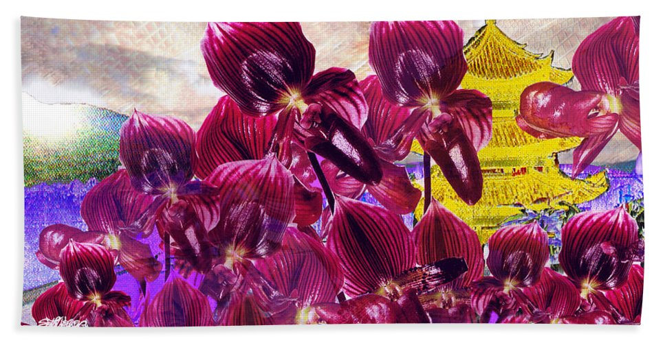 Far East Bath Sheet featuring the digital art Oriental Orchid Garden by Seth Weaver