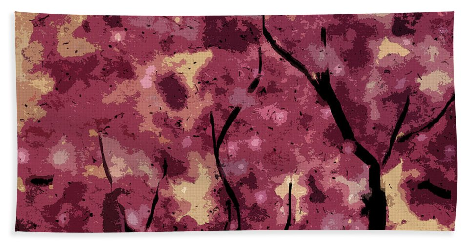 Oriental Bath Sheet featuring the mixed media Oriental Plum Blossom by Xueling Zou