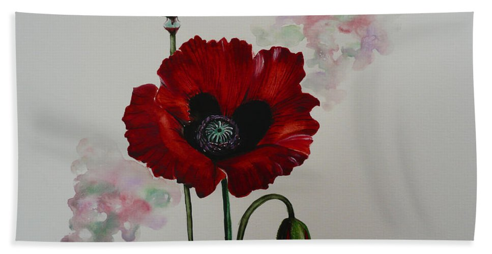 Floral Poppy Red Flower Bath Towel featuring the painting Oriental Poppy by Karin Dawn Kelshall- Best