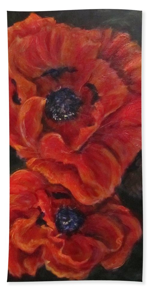 Flowers Hand Towel featuring the painting Oriental Poppys by Barbara O'Toole