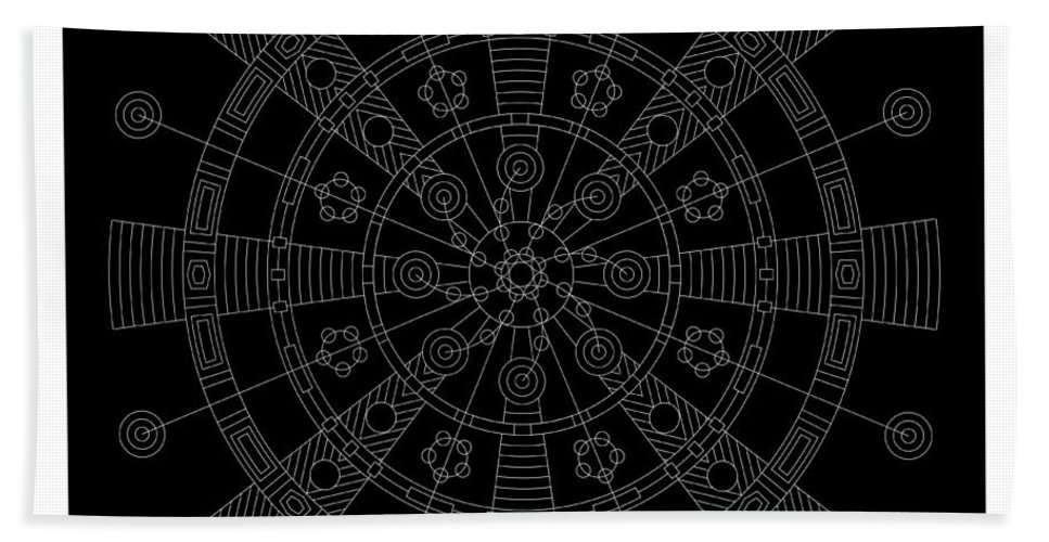 Relief Hand Towel featuring the digital art Origin Inverse by DB Artist