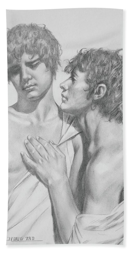 Original Art Bath Sheet featuring the drawing Original Drawing Charcoal Male Nude Gay Boys On Paper #16-5-25-02 by Hongtao Huang