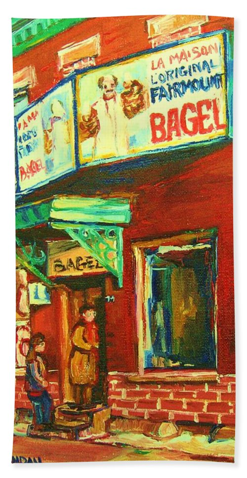 Original Fairmount Bagel Hand Towel featuring the painting Original Fairmount Bagel by Carole Spandau