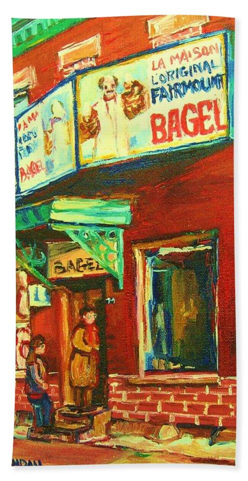 Original Fairmount Bagel Bath Towel featuring the painting Original Fairmount Bagel by Carole Spandau
