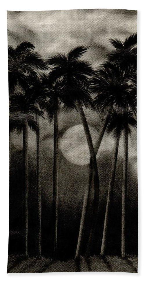 Original Moonlit Palm Trees Hand Towel featuring the drawing Original Moonlit Palm Trees by Larry Lehman