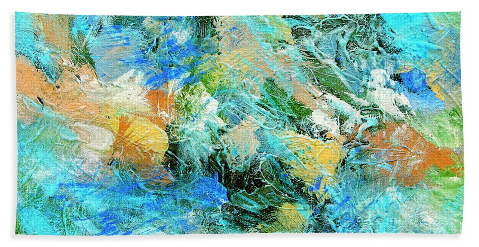 Abstract Hand Towel featuring the painting Orinoco by Dominic Piperata