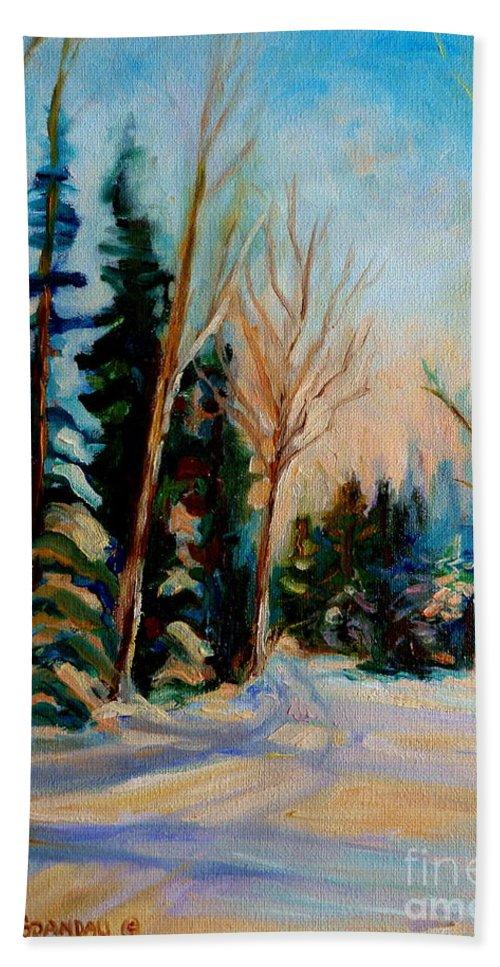Ormstown Quebec Winter Road Bath Towel featuring the painting Ormstown Quebec Winter Road by Carole Spandau