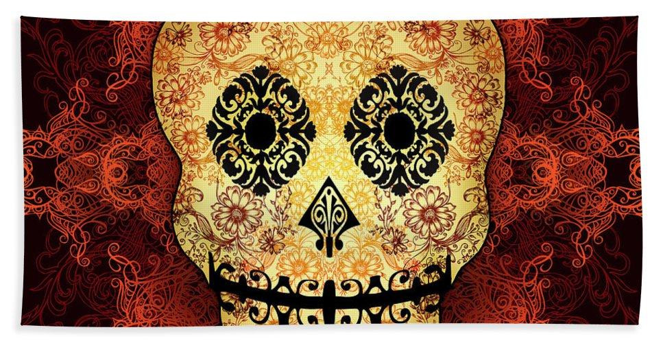 Vintage Bath Towel featuring the digital art Ornate Floral Sugar Skull by Tammy Wetzel