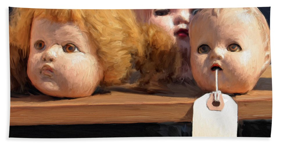 Doll Heads Bath Sheet featuring the painting Orphans by Dominic Piperata