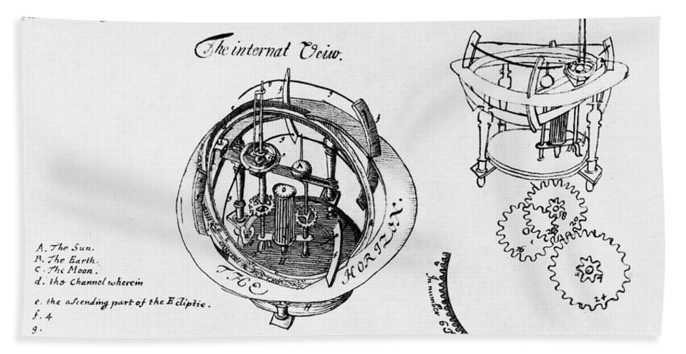 Historic Hand Towel featuring the photograph Orrery By Stephen Hales, 1705 by Wellcome Images