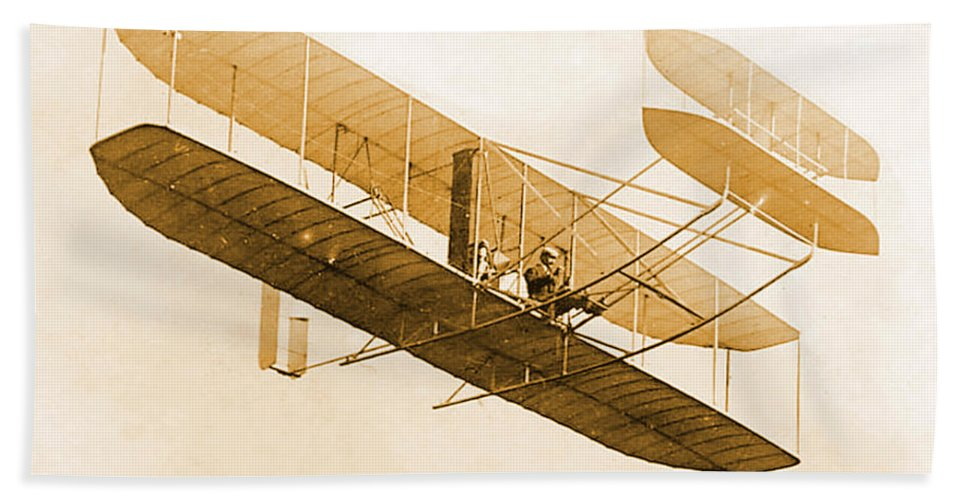 Historical Hand Towel featuring the photograph Orville Wright In Wright Flyer 1908 by Science Source