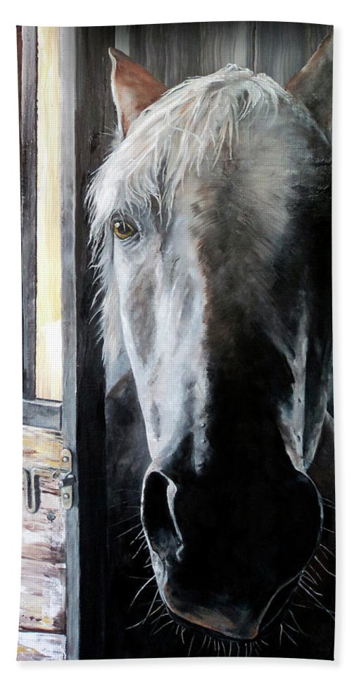 Equine Art Hand Towel featuring the painting Osada by Becky Brooks