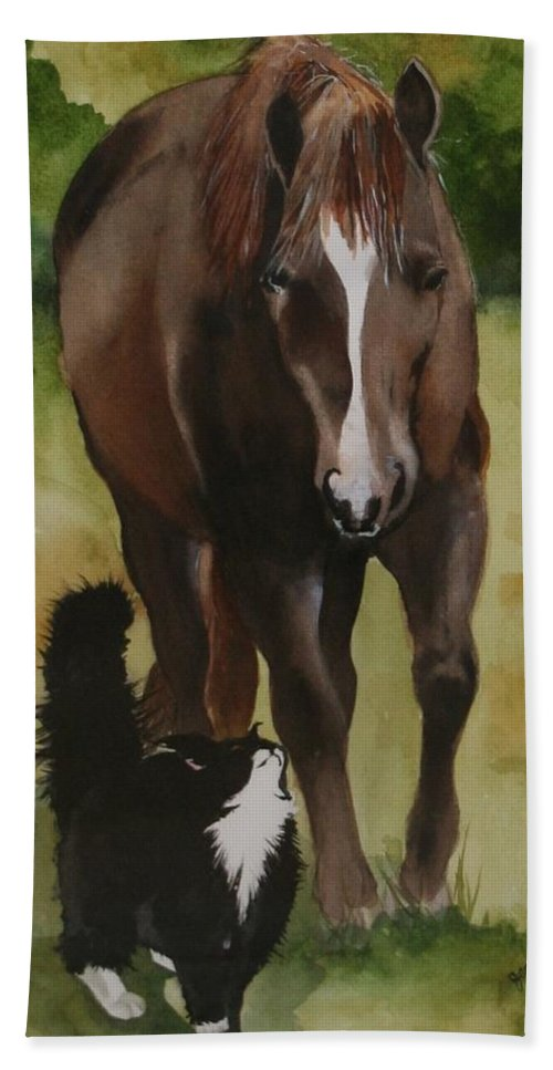 Horse Hand Towel featuring the painting Oscar and Friend by Jean Blackmer
