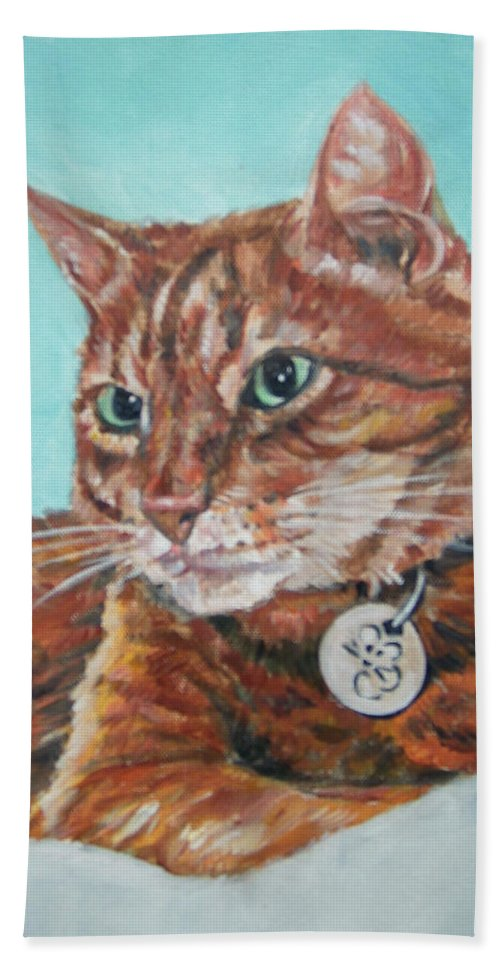 Cat Bath Towel featuring the painting Oscar by Bryan Bustard