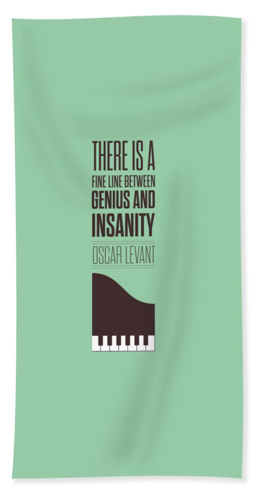 Oscar Levant Bath Towel featuring the digital art Oscar Levant inspirational Typography quotes poster by Lab No 4 - The Quotography Department