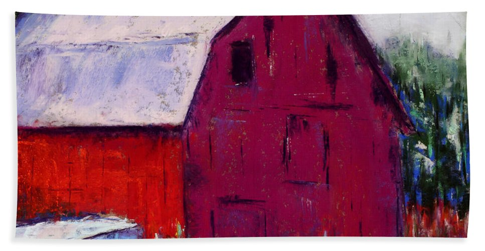 Barn Hand Towel featuring the painting Oscar's Barn by Diana Wade