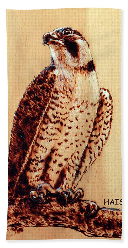 Osprey Hand Towel featuring the pyrography Osprey 2 Pillow/bag by Ron Haist
