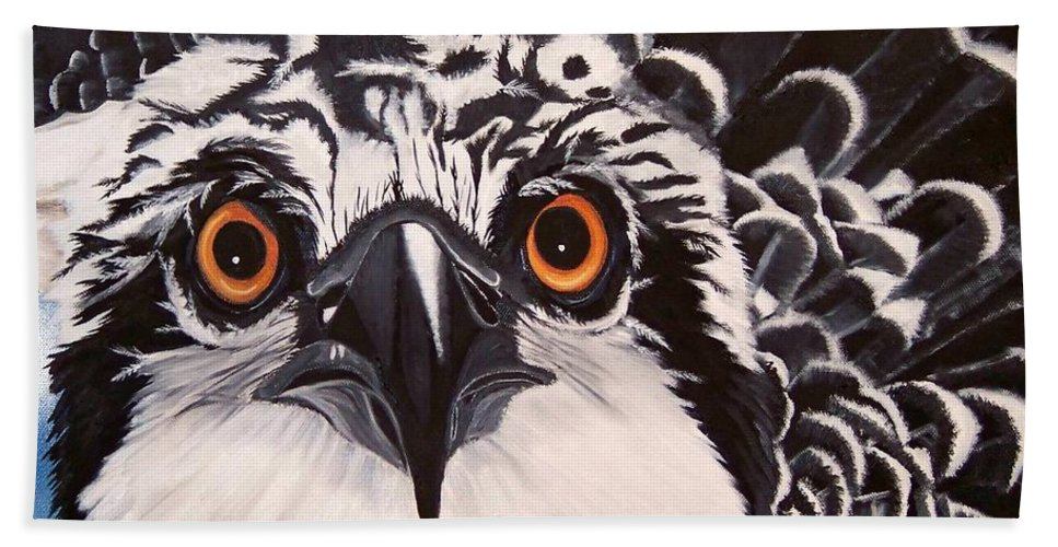 Osprey Hand Towel featuring the painting Osprey Eyes by Debbie LaFrance