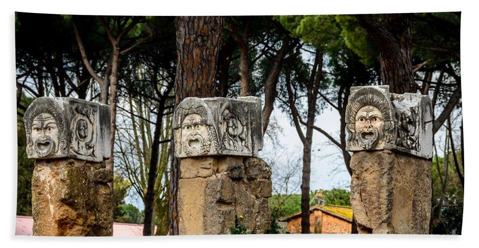 Ostia Antica - Theatre Marble Masks Bath Sheet featuring the photograph Ostia Antica - Theatre Marble Masks by Debra Martz