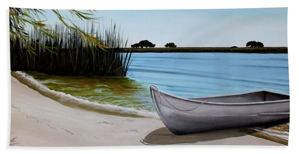Landscape Bath Sheet featuring the painting Our Beach by Elizabeth Robinette Tyndall