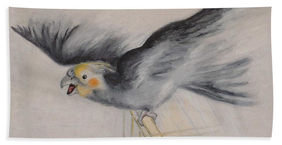 Cockatiel.pet Bath Towel featuring the painting our cockatiel Coco by Helmut Rottler