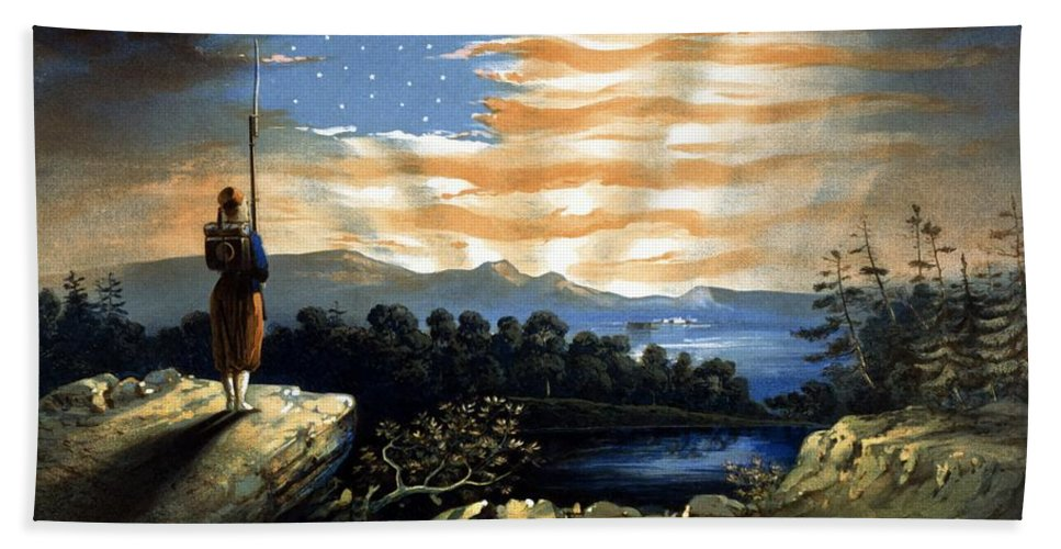 Civil War Bath Towel featuring the painting Our Heaven Born Banner by War Is Hell Store