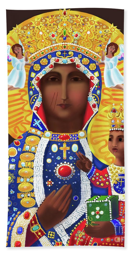 Our Lady Of Czestochowa Hand Towel featuring the painting Our Lady Of Czestochowa - Mmcze by Br Mickey McGrath OSFS