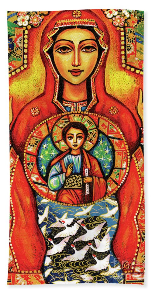 Mother And Child Bath Towel featuring the painting Our Lady Of The Sign by Eva Campbell