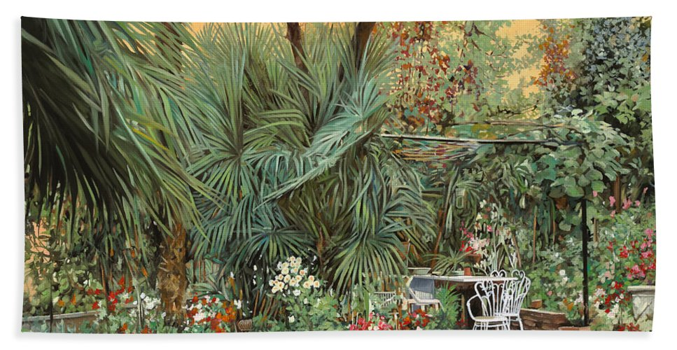 Garden Bath Towel featuring the painting Our Little Garden by Guido Borelli