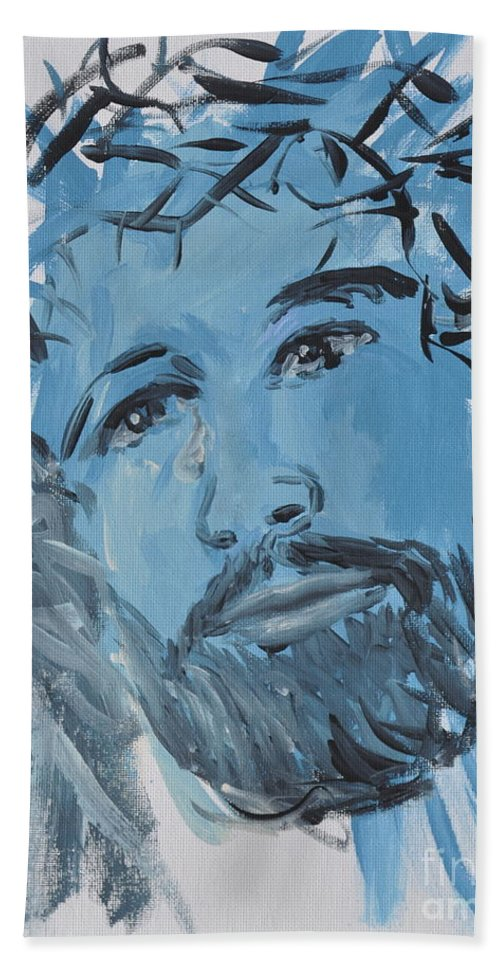 Jesus Hand Towel featuring the painting Our Lord Cries by Penny Neimiller
